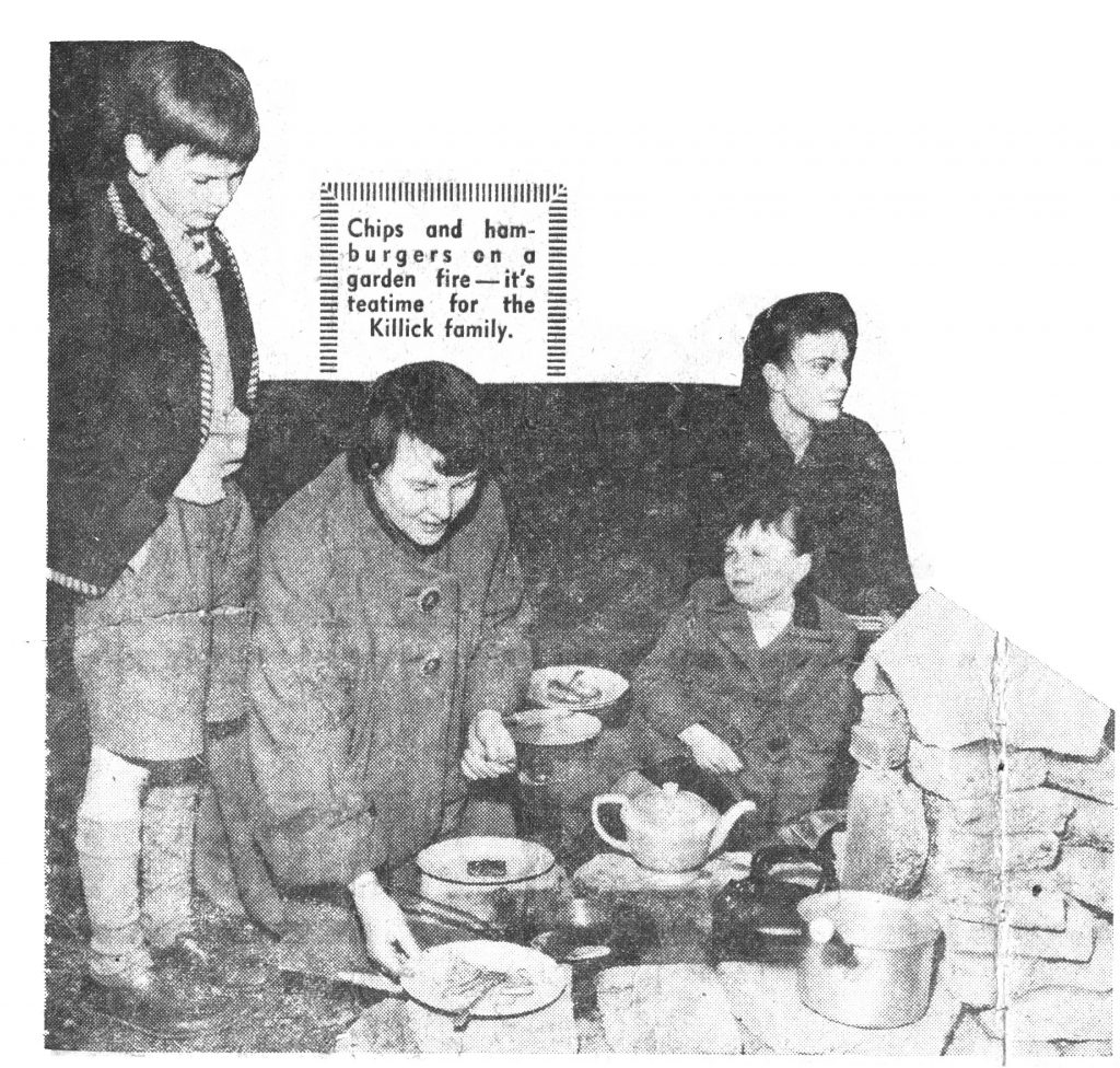 Marie with three of her children, Nigel, Cynthia and her youngest daughter Christina. cooking in the garden